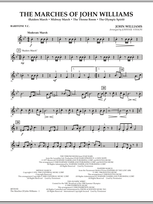 Johnnie Vinson The Marches of John Williams - Baritone T.C. sheet music notes and chords