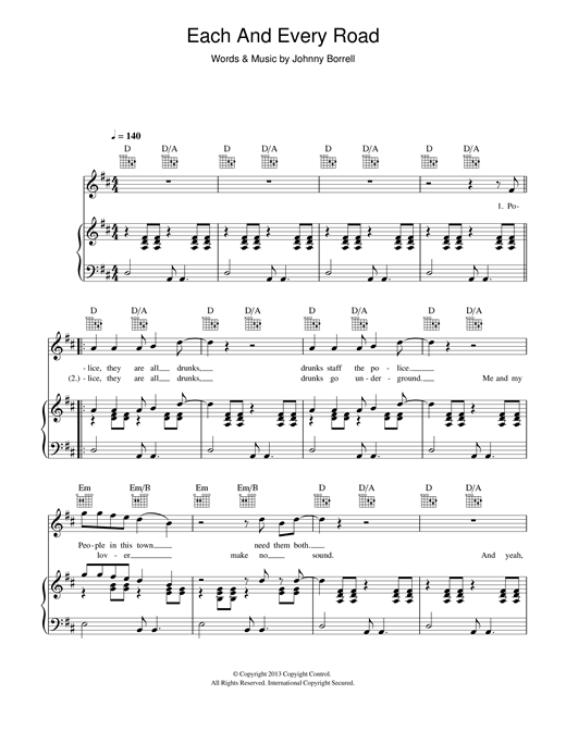 Johnny Borrell Each And Every Road sheet music notes and chords. Download Printable PDF.