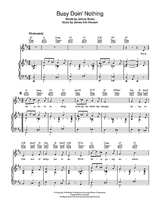Johnny Burke Busy Doing Nothing sheet music notes and chords. Download Printable PDF.