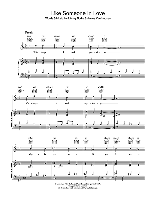 Johnny Burke Like Someone In Love sheet music notes and chords. Download Printable PDF.