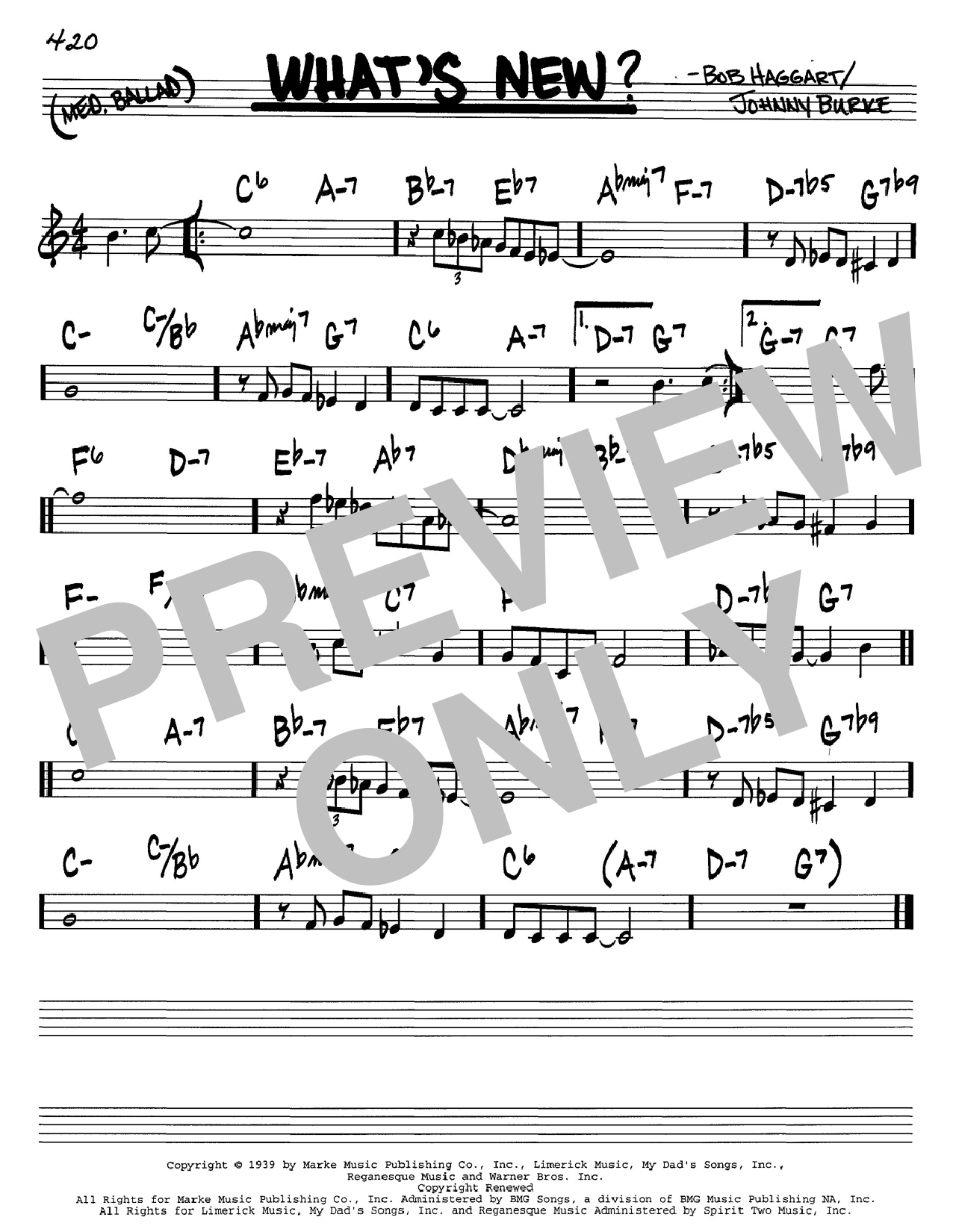 Johnny Burke What's New? sheet music notes and chords