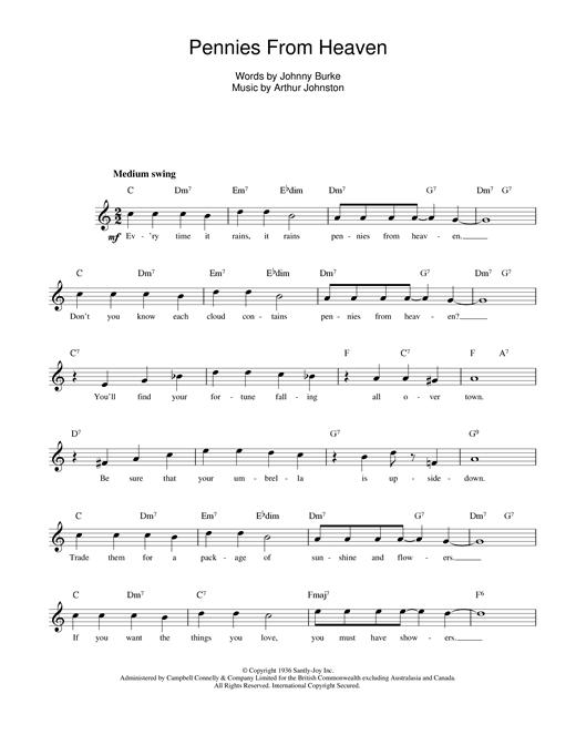 Johnny Burke and Arthur Johnston Pennies From Heaven sheet music notes and chords. Download Printable PDF.