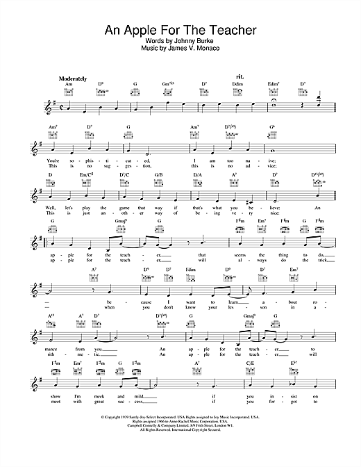Johnny Burke and James V. Monaco An Apple For The Teacher sheet music notes and chords. Download Printable PDF.