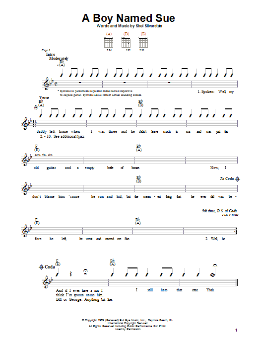 Johnny Cash A Boy Named Sue sheet music notes and chords