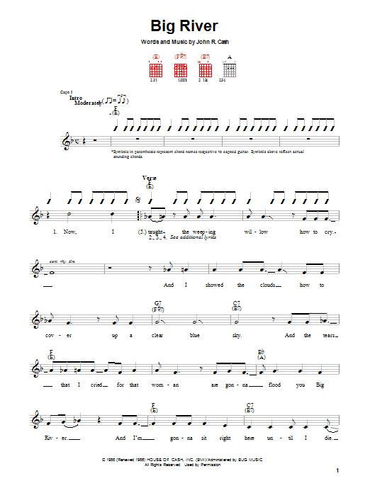 Johnny Cash Big River sheet music notes and chords. Download Printable PDF.