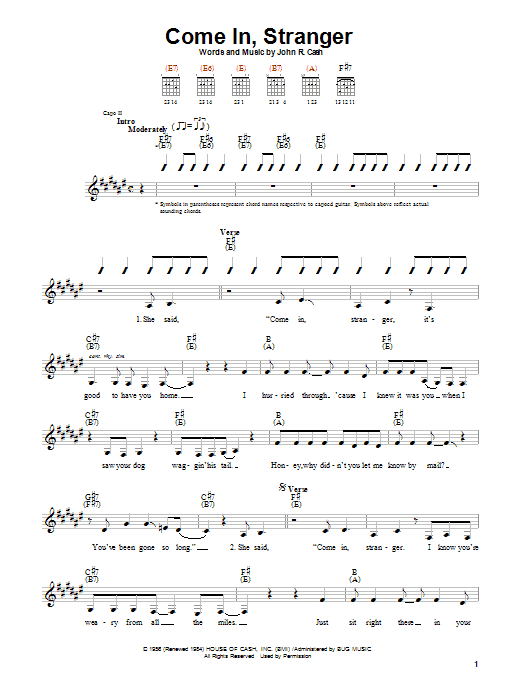 Johnny Cash Come In, Stranger sheet music notes and chords