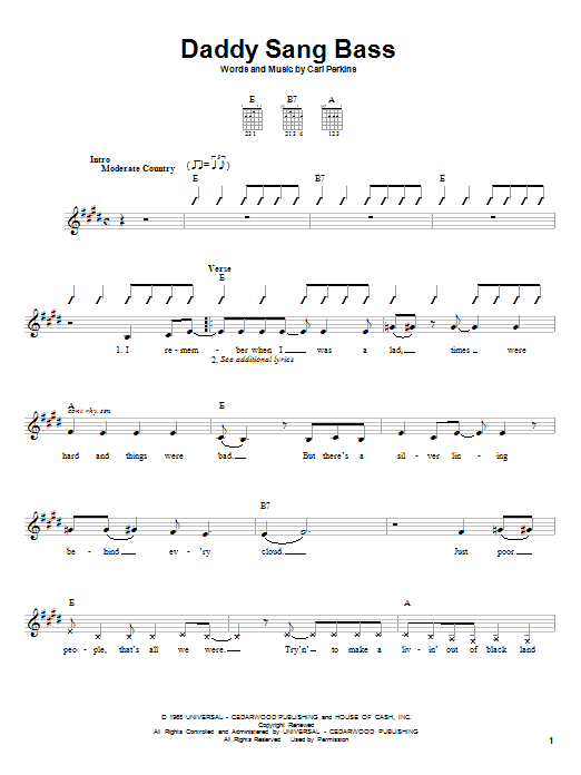 Johnny Cash Daddy Sang Bass sheet music notes and chords. Download Printable PDF.