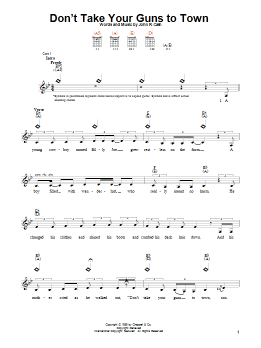 Johnny Cash Don't Take Your Guns To Town sheet music notes and chords