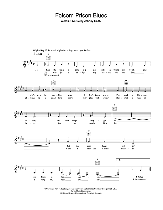 Johnny Cash Folsom Prison Blues sheet music notes and chords. Download Printable PDF.