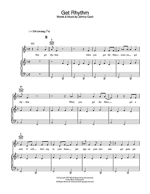 Johnny Cash Get Rhythm sheet music notes and chords. Download Printable PDF.