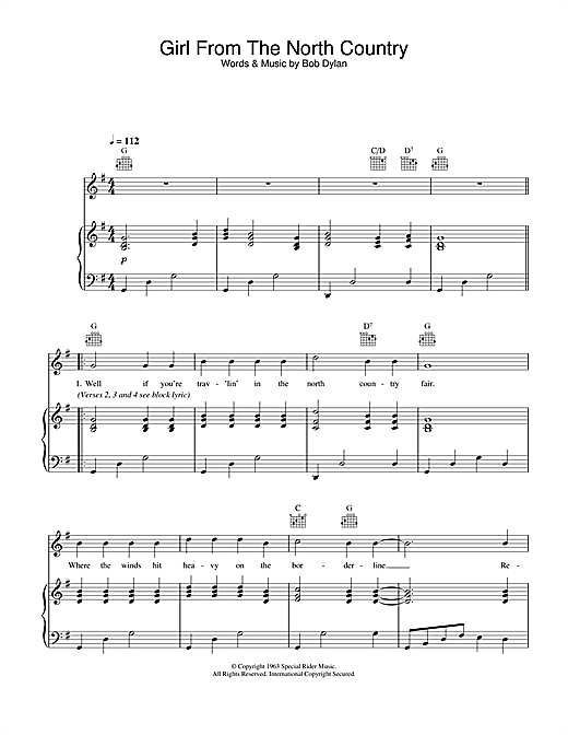 Johnny Cash Girl From The North Country sheet music notes and chords. Download Printable PDF.