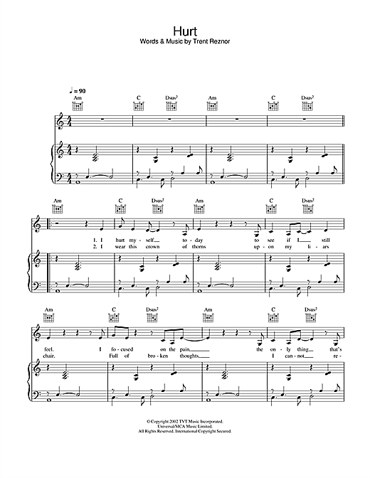 Johnny Cash Hurt sheet music notes and chords. Download Printable PDF.
