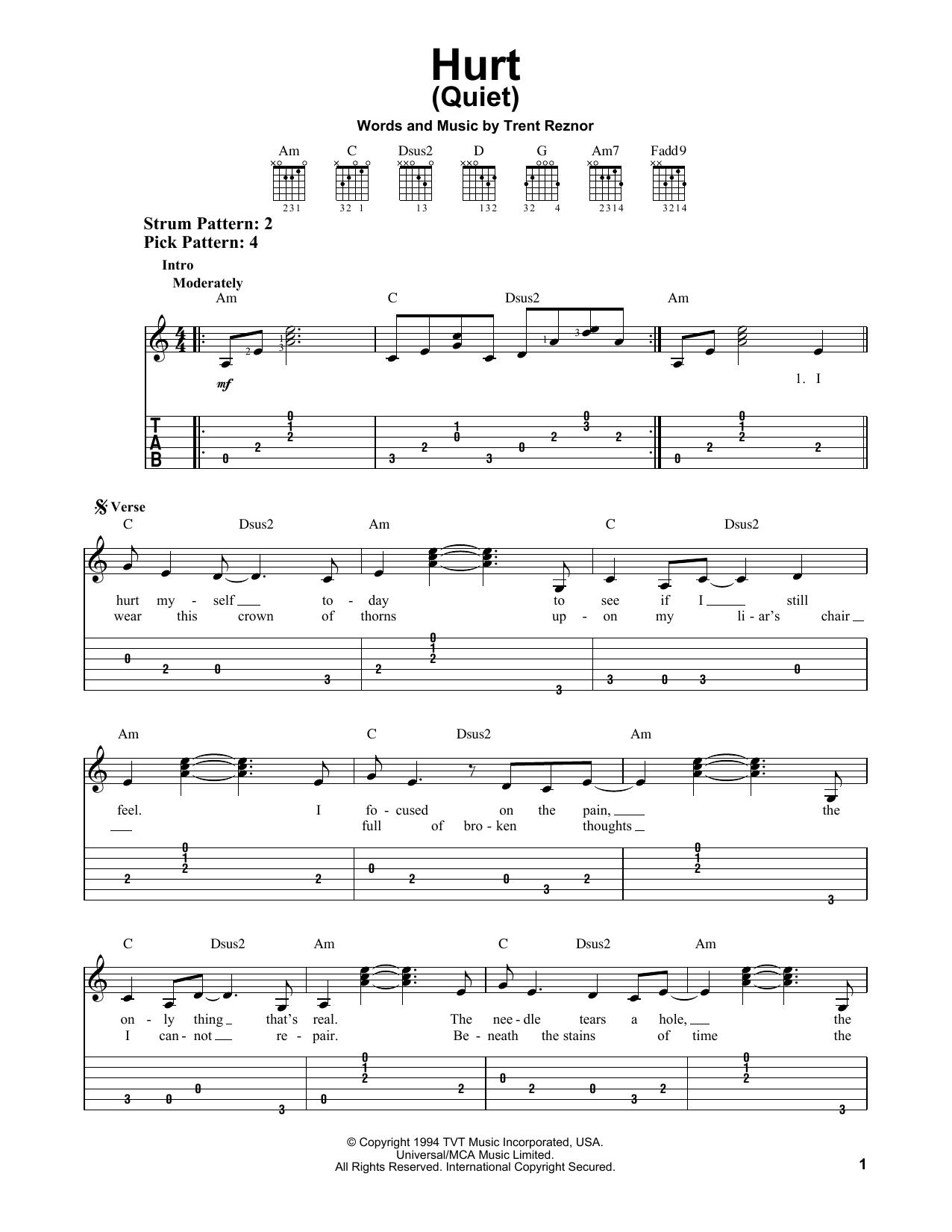 Johnny Cash Hurt Quiet Sheet Music Notes, Chords   Download Printable  Guitar Chords/Lyrics PDF Score   SKU 15