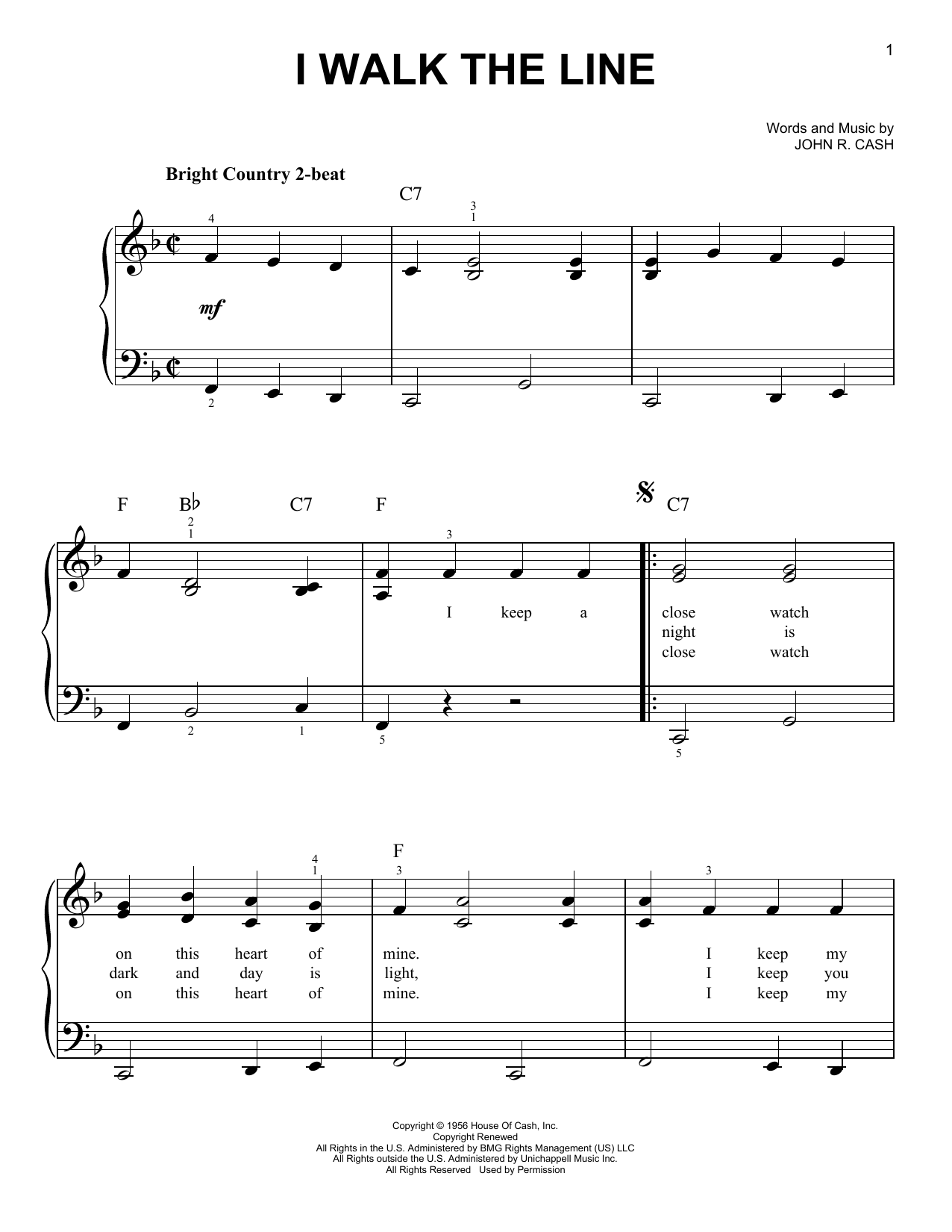 Johnny Cash I Walk The Line sheet music notes and chords