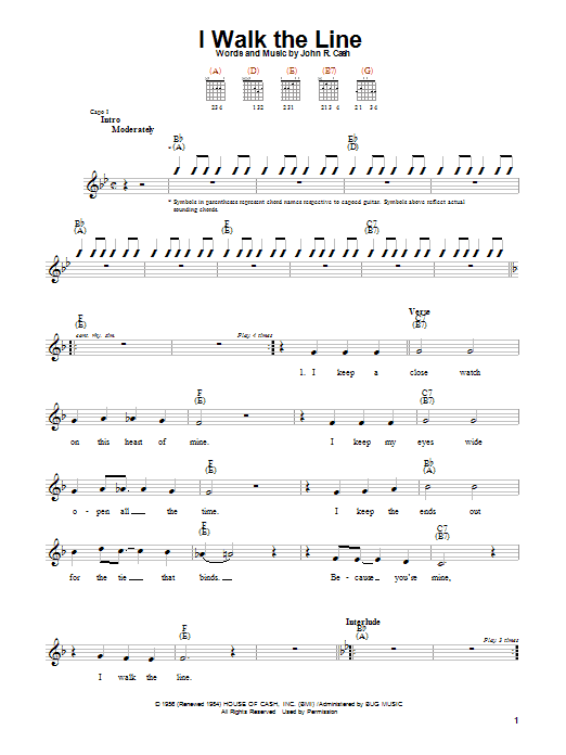 Johnny Cash I Walk The Line sheet music notes and chords. Download Printable PDF.