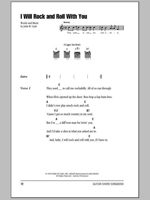 Johnny Cash I Will Rock And Roll With You sheet music notes and chords. Download Printable PDF.