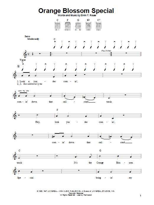 Johnny Cash Orange Blossom Special sheet music notes and chords. Download Printable PDF.