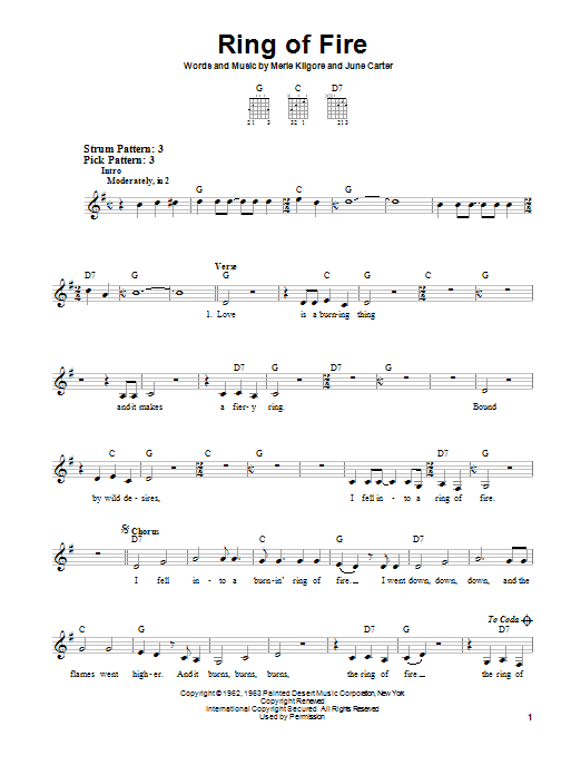 Johnny Cash Ring Of Fire sheet music notes and chords. Download Printable PDF.