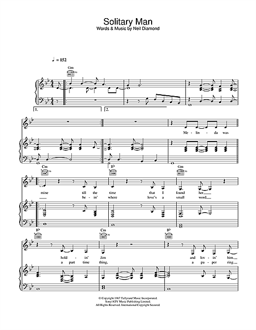 Johnny Cash Solitary Man sheet music notes and chords