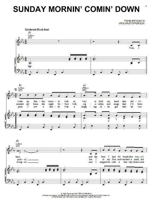 Johnny Cash Sunday Mornin' Comin' Down sheet music notes and chords. Download Printable PDF.