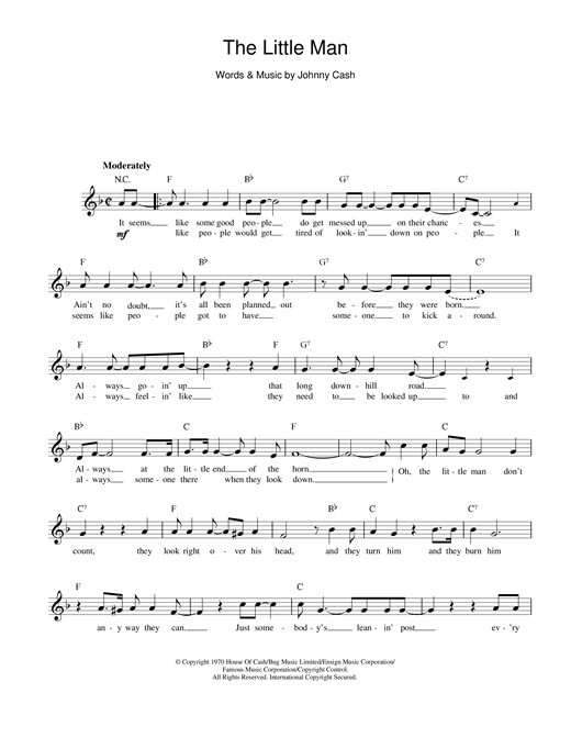 Johnny Cash The Little Man sheet music notes and chords