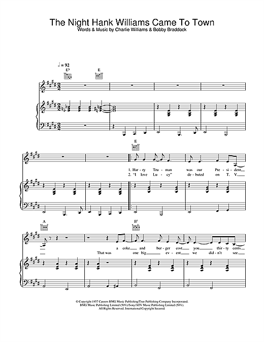 Johnny Cash The Night Hank Williams Came To Town sheet music notes and chords. Download Printable PDF.