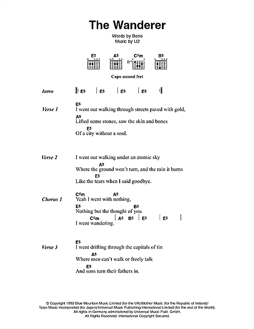 U2 & Johnny Cash The Wanderer sheet music notes and chords. Download Printable PDF.