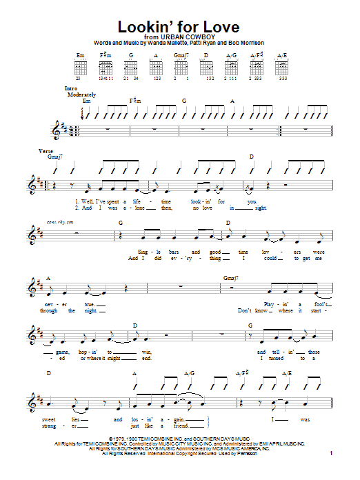 Johnny Lee Lookin' For Love sheet music notes and chords. Download Printable PDF.
