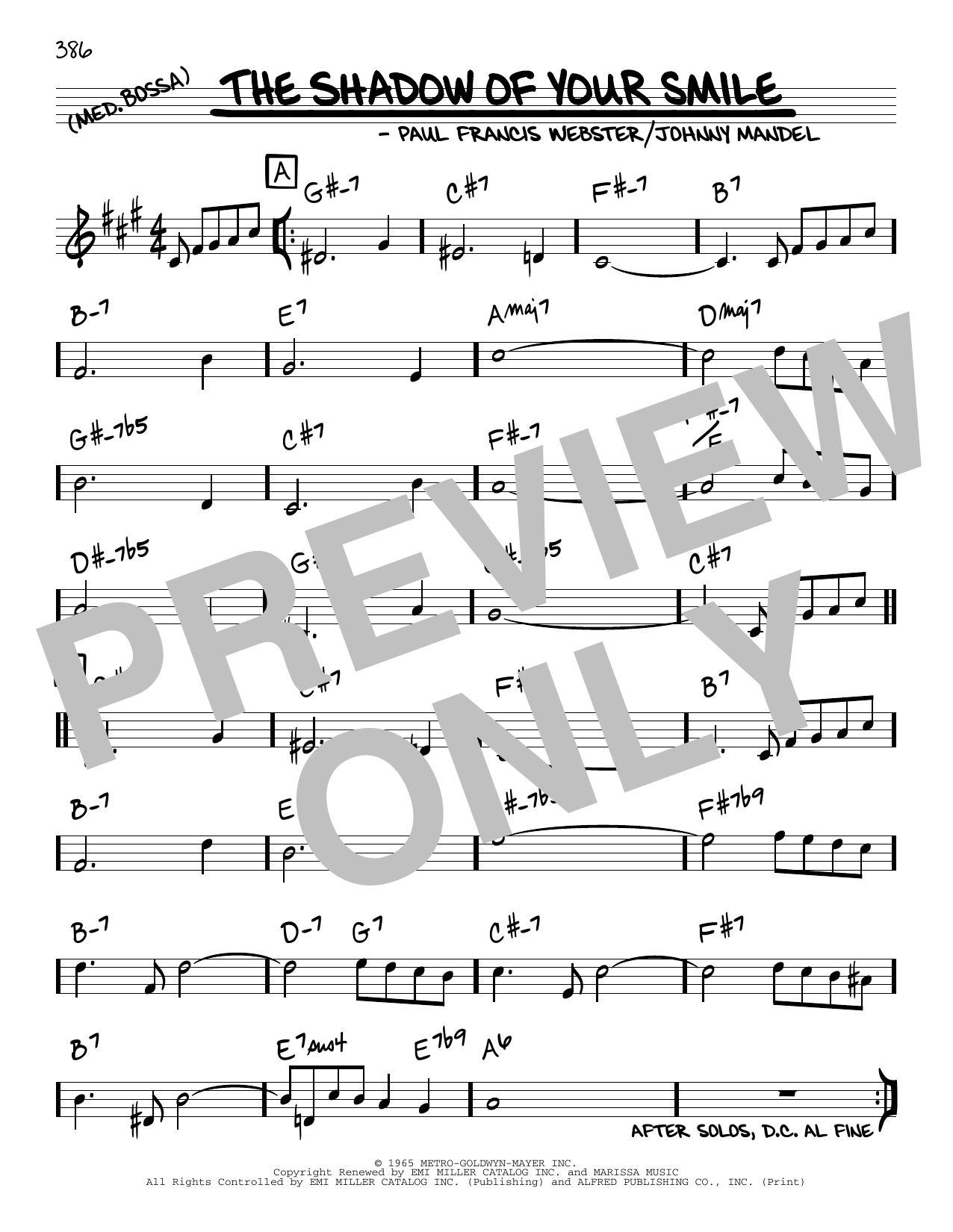 Johnny Mandel and Paul Francis Webster The Shadow Of Your Smile sheet music notes and chords. Download Printable PDF.