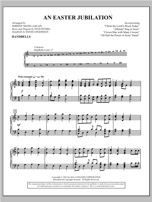 Johnny Mann An Easter Jubilation sheet music notes and chords