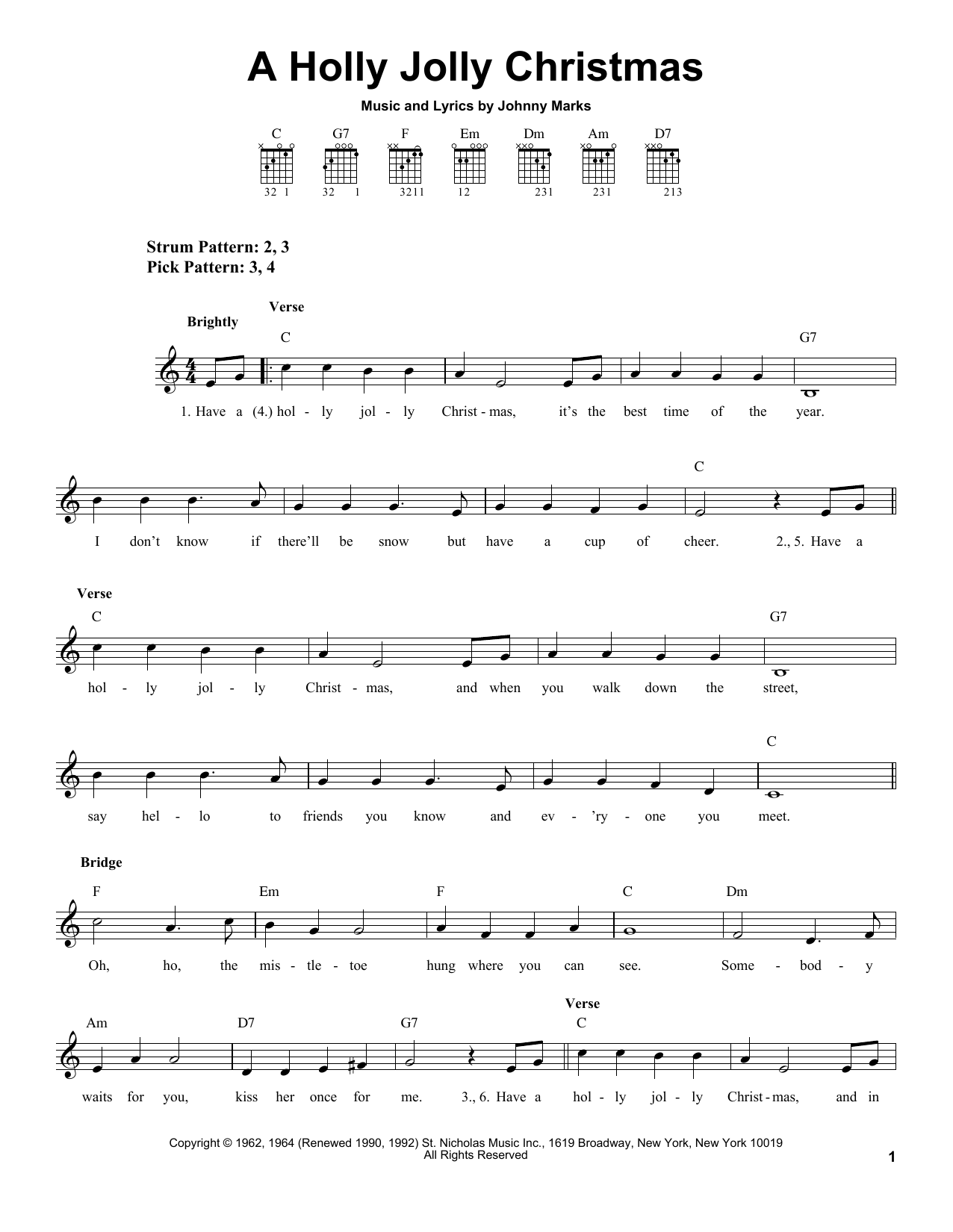 Johnny Marks A Holly Jolly Christmas sheet music notes and chords. Download Printable PDF.