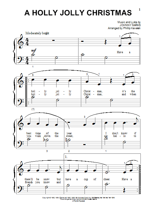 Johnny Marks A Holly Jolly Christmas (arr. Phillip Keveren) sheet music notes and chords. Download Printable PDF.