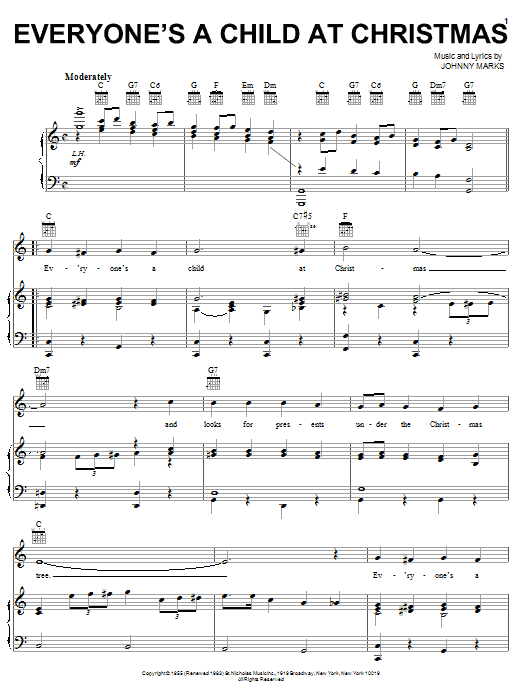 Johnny Marks Everyone's A Child At Christmas sheet music notes and chords. Download Printable PDF.