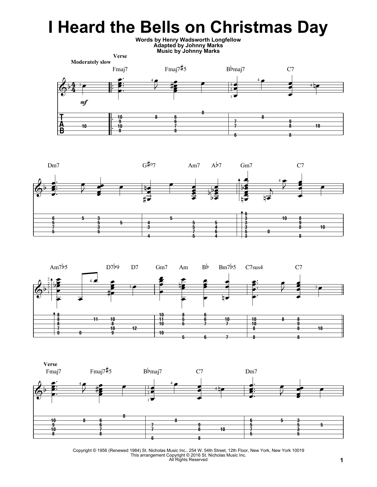 Johnny Marks I Heard The Bells On Christmas Day sheet music notes and chords. Download Printable PDF.