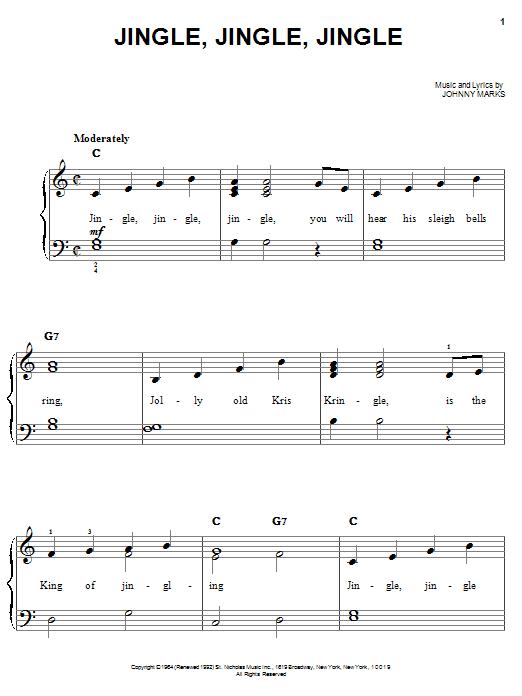 Johnny Marks Jingle, Jingle, Jingle sheet music notes and chords