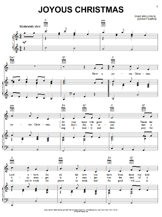Johnny Marks Joyous Christmas sheet music notes and chords. Download Printable PDF.