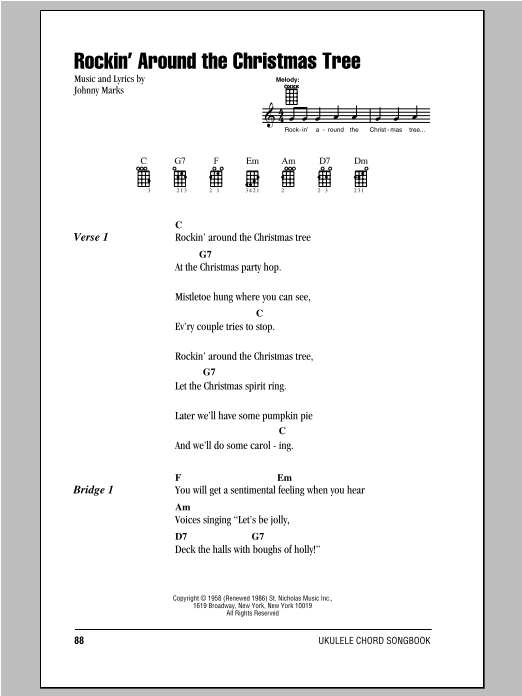 Johnny Marks Rockin' Around The Christmas Tree sheet music notes and chords. Download Printable PDF.