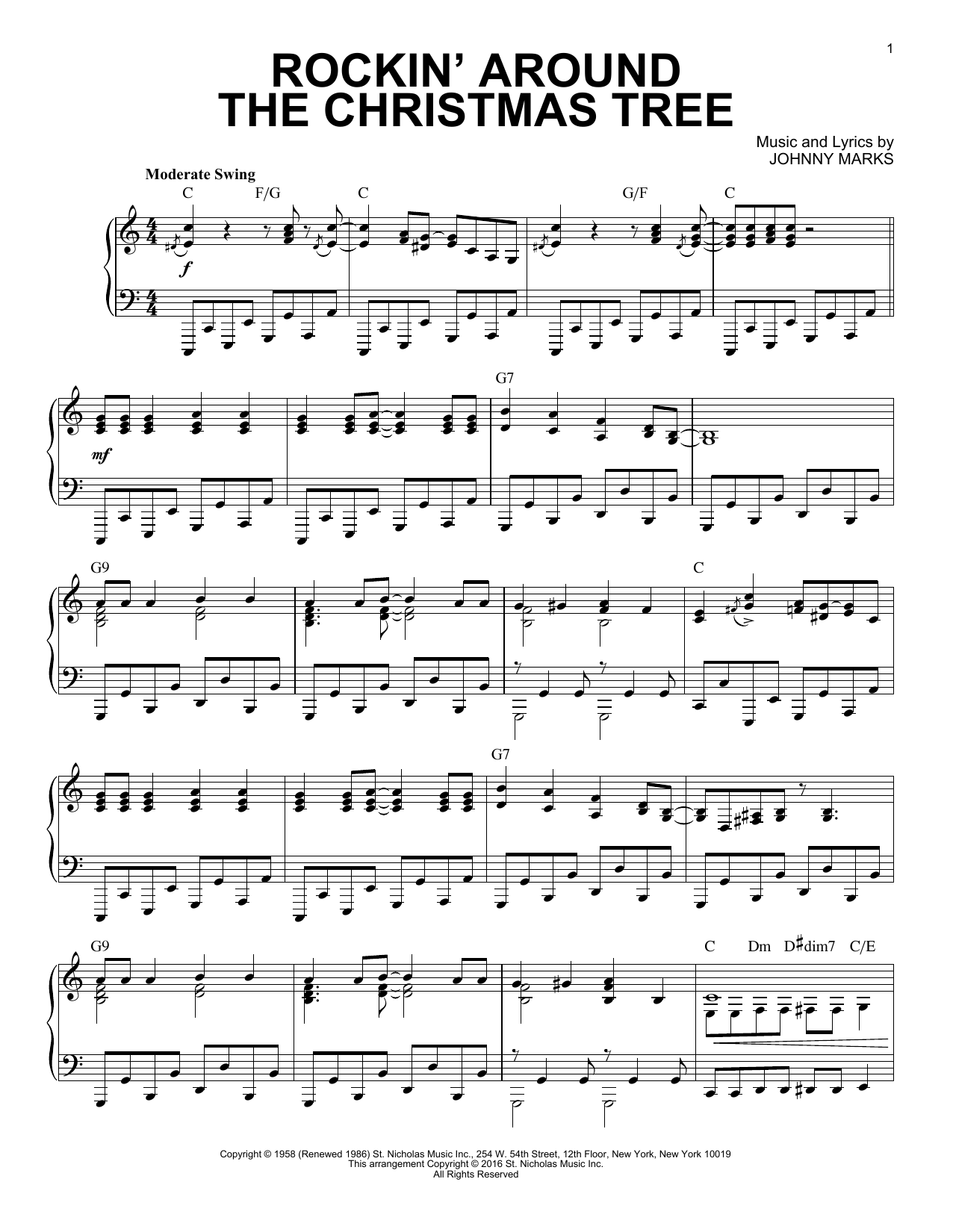 Johnny Marks 'Rockin' Around The Christmas Tree [Jazz version] arr. Brent  Edstrom' Sheet Music Notes, Chords   Download Printable Piano Solo   SKU  ...