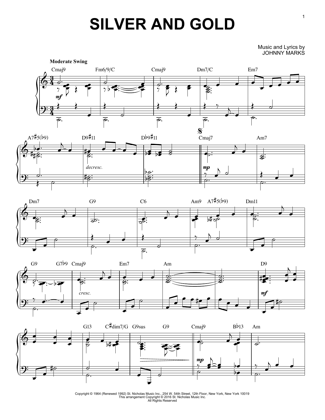 Johnny Marks Silver And Gold [Jazz version] (arr. Brent Edstrom) sheet music notes and chords