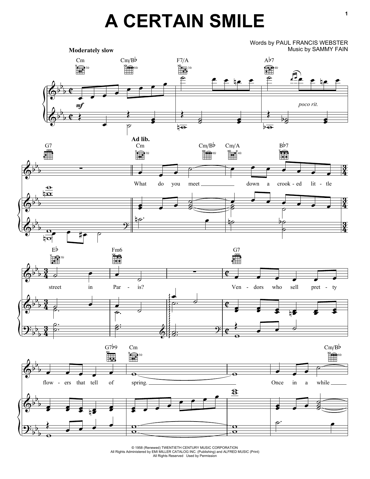 Johnny Mathis A Certain Smile sheet music notes and chords