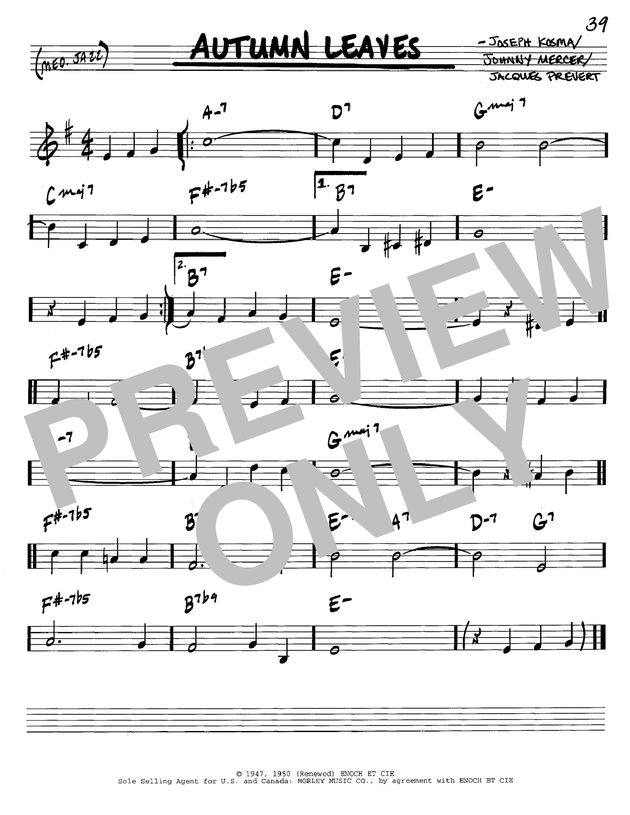 Johnny Mercer Autumn Leaves sheet music notes and chords. Download Printable PDF.