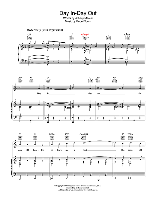 Johnny Mercer Day In, Day Out sheet music notes and chords. Download Printable PDF.
