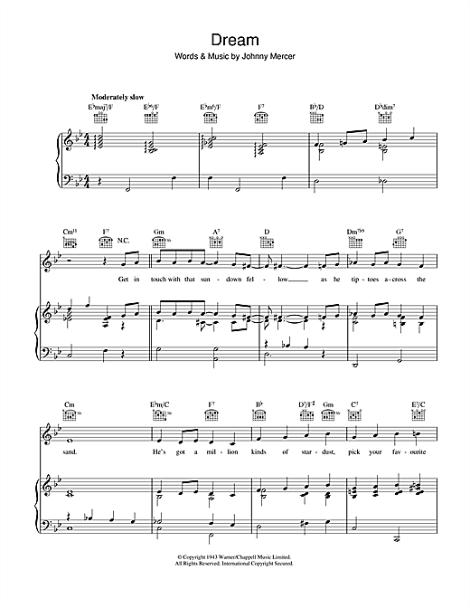 Johnny Mercer Dream sheet music notes and chords