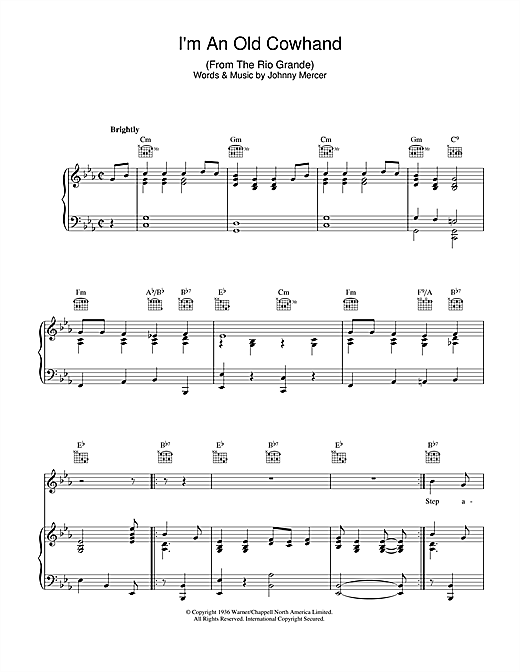 Johnny Mercer I'm An Old Cowhand sheet music notes and chords. Download Printable PDF.