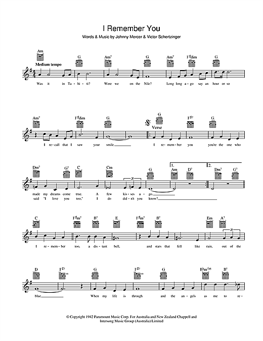 Johnny Mercer I Remember You sheet music notes and chords. Download Printable PDF.