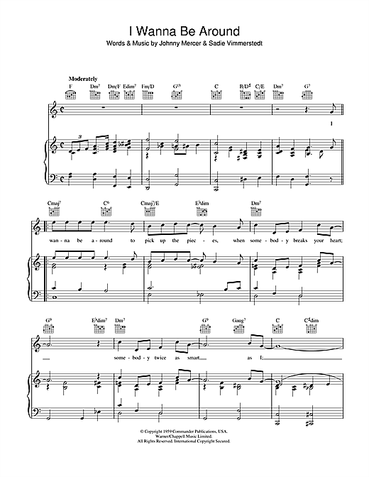 Johnny Mercer I Wanna Be Around sheet music notes and chords. Download Printable PDF.