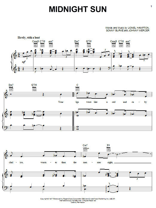 Johnny Mercer Midnight Sun sheet music notes and chords. Download Printable PDF.