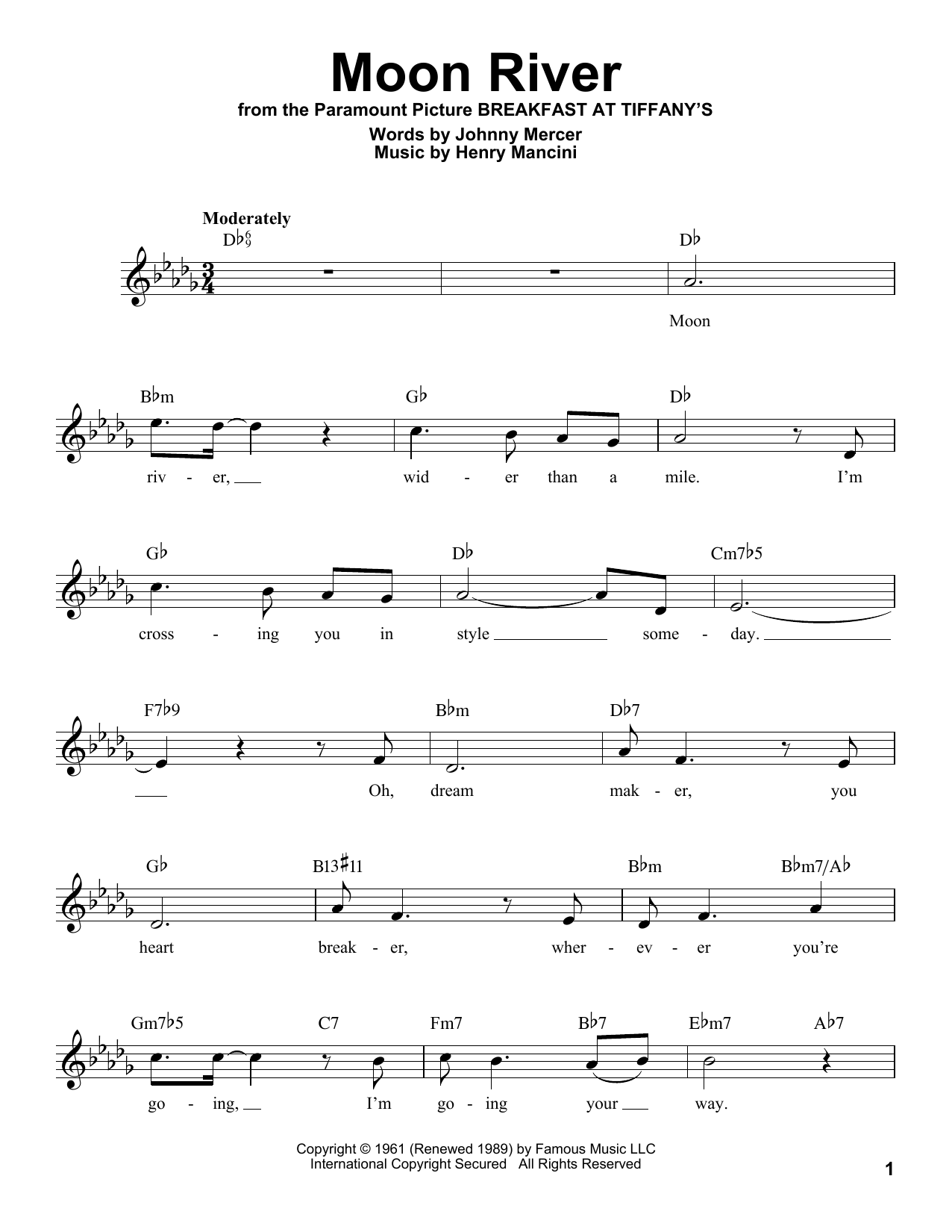 Johnny Mercer Moon River sheet music notes and chords. Download Printable PDF.