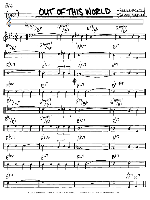 Johnny Mercer Out Of This World sheet music notes and chords. Download Printable PDF.