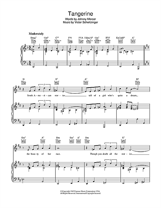 Johnny Mercer Tangerine sheet music notes and chords. Download Printable PDF.